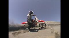 Dirt Bike Trick -berm carve fisheye - Extreme Sports - stock footage
