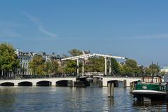 Drawbridge on the amstel river in amsterdam Stock Photos