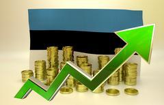 currency appreciation - Estonian economy - stock illustration