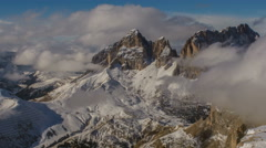 Sasso Lungo peak covered in clouds winter time lapse 4K Stock Footage