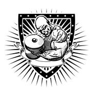 Bodybuilder shield Stock Illustration