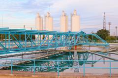Big tank of water supply in metropolitan waterwork s industry plant site Stock Photos