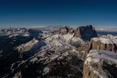 Sella Ronda and Sasso Lungo peaks, Fassa valley, cross on edge of precipice 6K Stock Footage