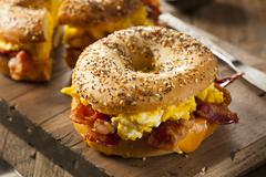 Hearty breakfast sandwich on a bagel Stock Photos