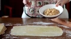 Homemade Agnolotti Preparation Stock Footage