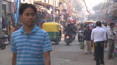 People in the market at Delhi circa 2014 in India Stock Footage