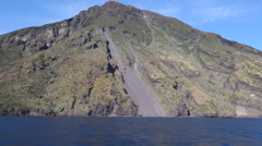 Stromboli volcano from sea Stock Footage