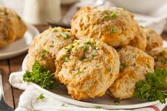 homemade cheddar cheese biscuits - stock photo