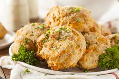 Homemade cheddar cheese biscuits Stock Photos