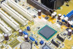 chipset on mainboard pc, computer micro circuit board - stock photo