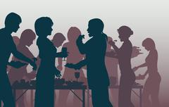 Buffet party Stock Illustration