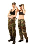 Two women in military clothes with binoculars army girls Kuvituskuvat