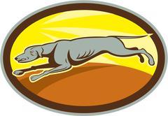 Stock Illustration of greyhound dog jumping side oval cartoon.