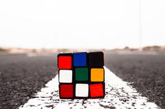 Rubik's cube solved Stock Photos
