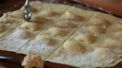 Agnolotti Pasta Cut Stock Footage