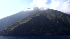Navigation around the volcano Stromboli , Italy Stock Footage