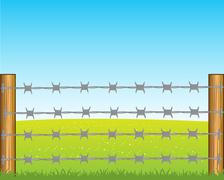 Poles with barbed wire Stock Illustration