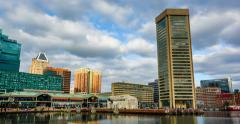 Time lapse footage of the Baltimore Inner Harbor, in Baltimore, Maryland.mp4 Stock Footage