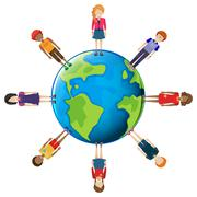 Stock Illustration of Network of people around the globe