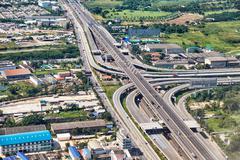 Bird's-eye view on highway in bangkok vicinity Stock Photos