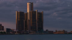 Evening skyline of Detroit's Renaissance Center Arkistovideo