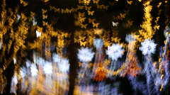 butterfly bokeh, christmas light in nighttime - stock footage