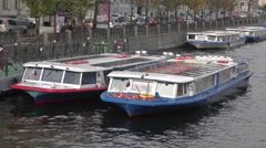 Petersburg River And Boats in Russia Stock Footage