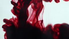 Abstract dynamic flow of dark red blood ink in water on white Stock Footage