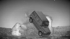 Security camera view of car explosion ( for low budget productions) Stock Footage