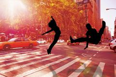 Stock Illustration of Composite image of cool break dancer