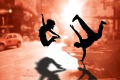 Composite image of cool break dancer - stock illustration