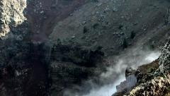 Sources of smoke in the crater of the volcano Stock Footage