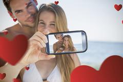 Composite image of valentines couple - stock illustration