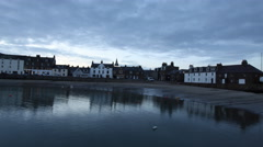 Timelapse of Stonehaven waterfront at dusk Scotland Stock Footage