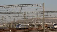 Bullet CRH train arriving at railway station Stock Footage