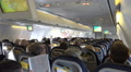 Passenger cabin inflight panning Boeing 737-800 holidays aeroplane Footage