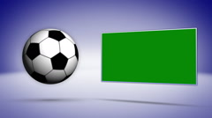 Soccer Ball and Green Screen Monitor Background - stock footage