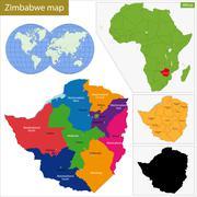 Zimbabwe map - stock illustration