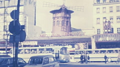 Paris 1975: people in front of Moulin Rouge Stock Footage