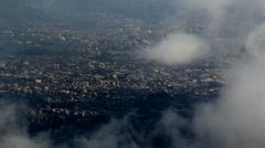 City views through the clouds. bird's-eye Stock Footage