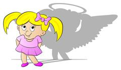 Girl with her angel shadow Stock Illustration