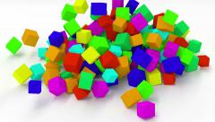 Falling multicolored cubes. UHD animation. Stock Footage