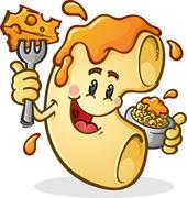 Macaroni and Cheese Cartoon Character Stock Illustration