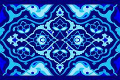 blue artistic ottoman pattern series fifty seven - stock illustration