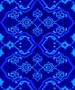 Blue artistic ottoman seamless pattern series fifty sixty two Stock Illustration