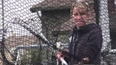 Waterfowl, behind net Stock Footage