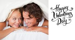 Composite image of cute valentines couple - stock illustration