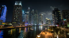 Famous place River Walk And Dubai Marina with skyscraper Stock Footage