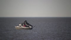 Small fishing boat in the Gulf of Mexico near Cypremort Point, Louisiana Stock Footage