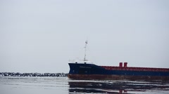 Cargo ship go to port water in foggy weather Stock Footage